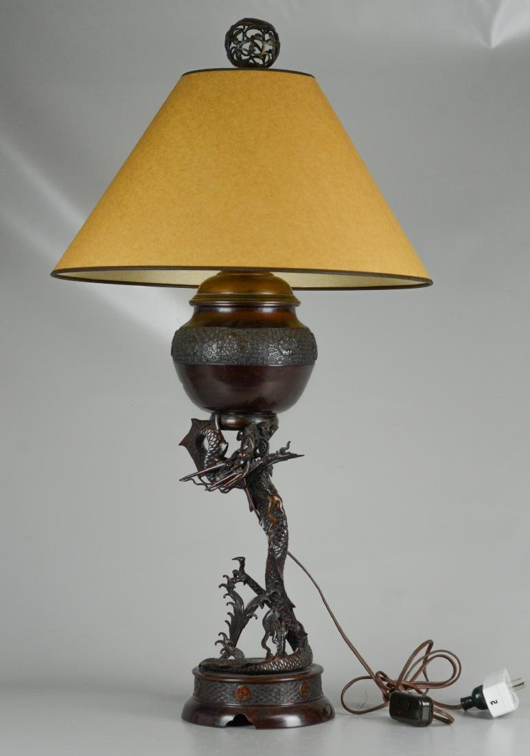 Japanese style bronze dragon converted oil lamp