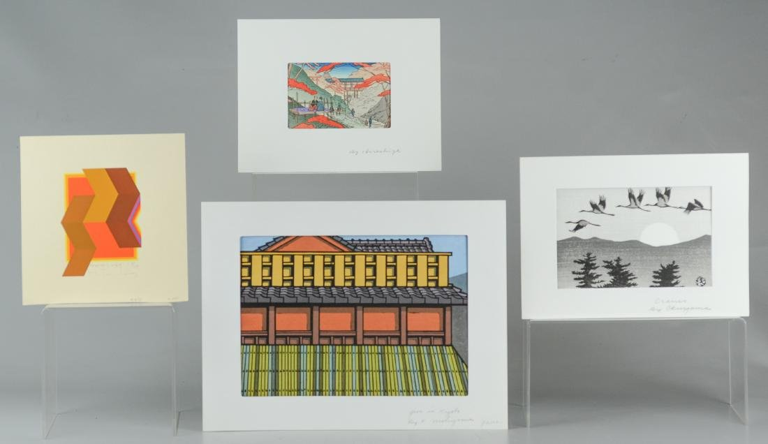 (4) Japanese woodblocks and serigraphs