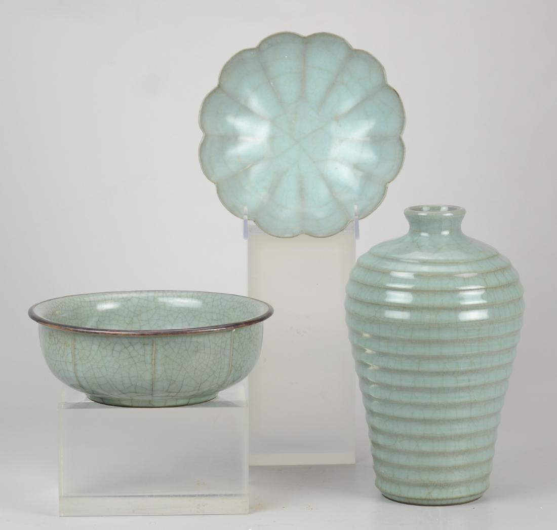 (3) pcs Lonquan style celadon porcelain