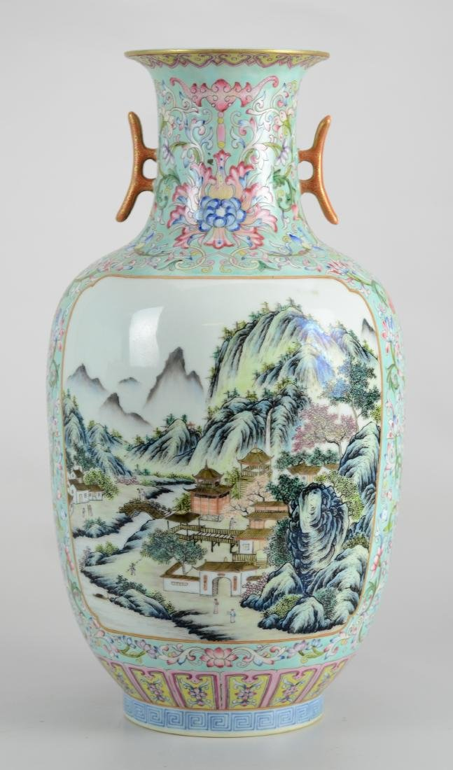 Chinese Famille Rose vase with 2 landscape panels