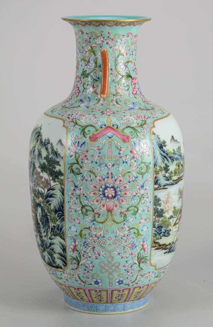 Chinese Famille Rose vase with 2 landscape panels - 3