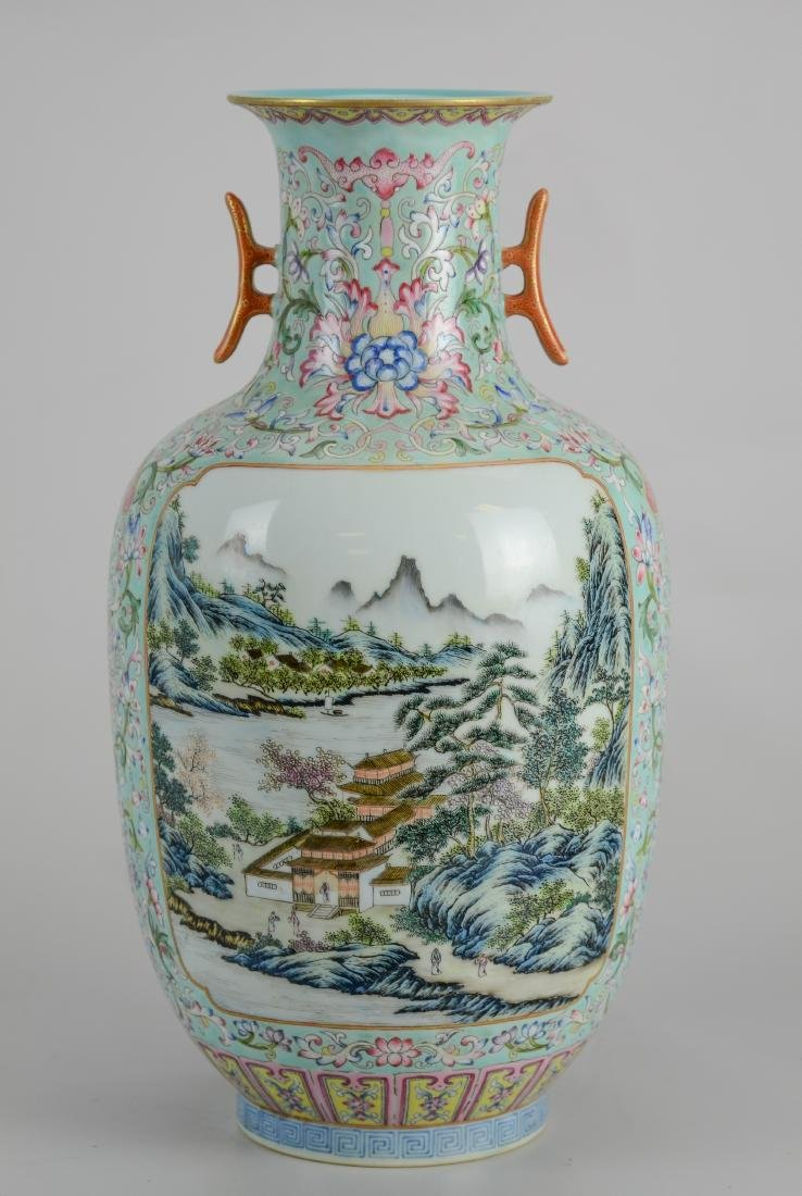 Chinese Famille Rose vase with 2 landscape panels - 4