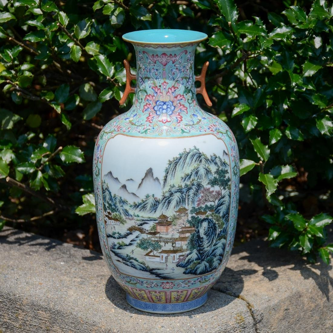 Chinese Famille Rose vase with 2 landscape panels - 6