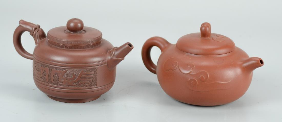 (2) Chinese Yixing teapots