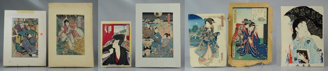 (7) Japanese woodblock prints, unframed
