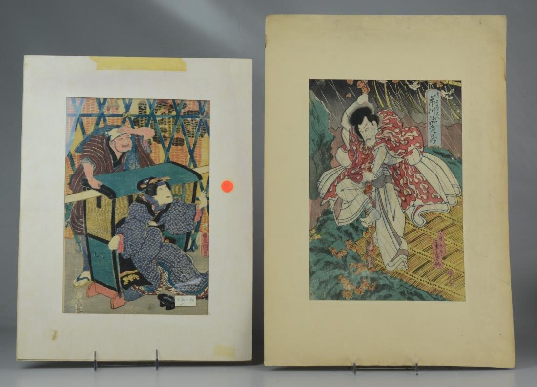 (7) Japanese woodblock prints, unframed - 2