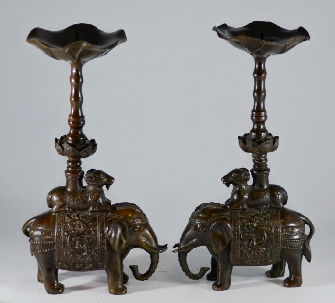 Pr Chinese bronze candlesticks with elephant