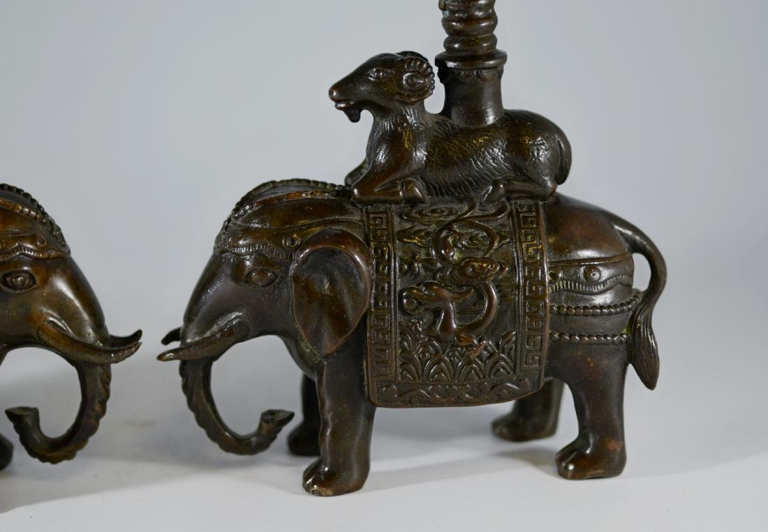 Pr Chinese bronze candlesticks with elephant - 2