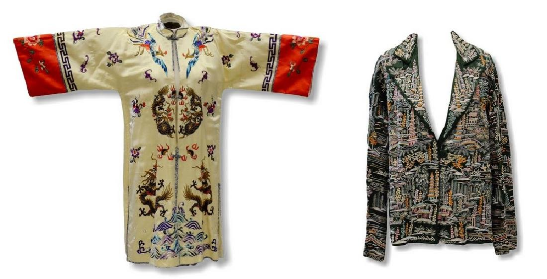 (2) Chinese embroidered pieces