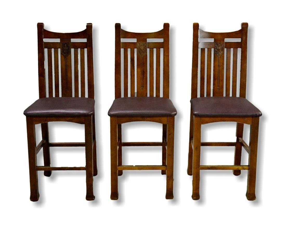(3) Mission style bar stools