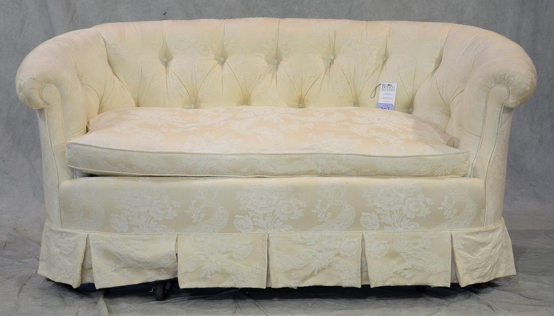 Baker tufted upholstered settee
