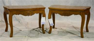 Pair Louis XV style walnut carved stools