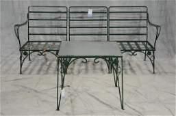2 Salterini style iron leaf form patio set