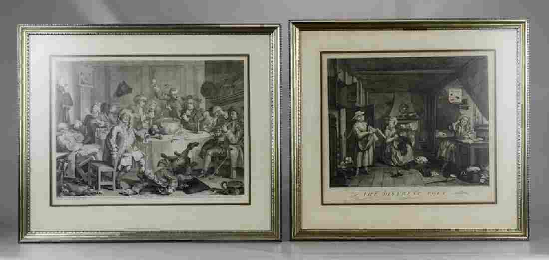 William Hogarth (British, 1697–1764), (2) engravings