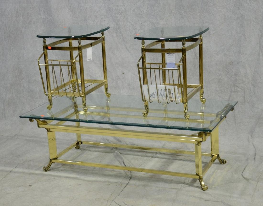 (3) brass glass top tables