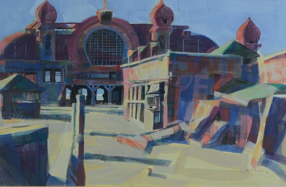 "Edward Maryon Watercolor ""Ruins of Saltair Amusement"
