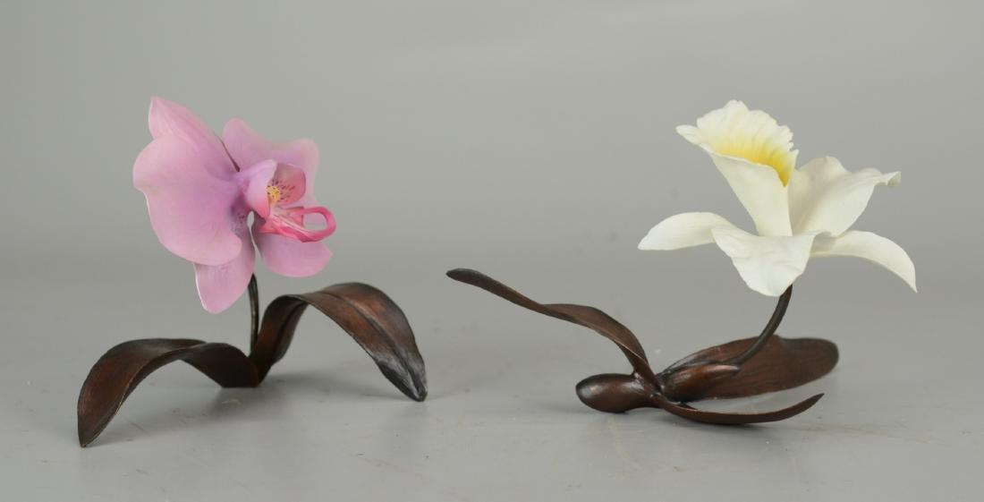 (2) Boehm Porcelain Orchid Figurines