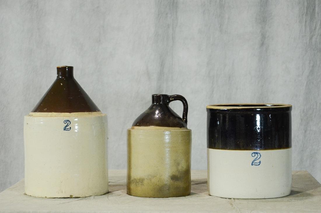 (2) Stoneware jugs and a crock
