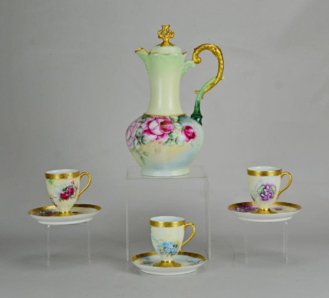 Hand Painted Chocolate Pot with Similar Cups and
