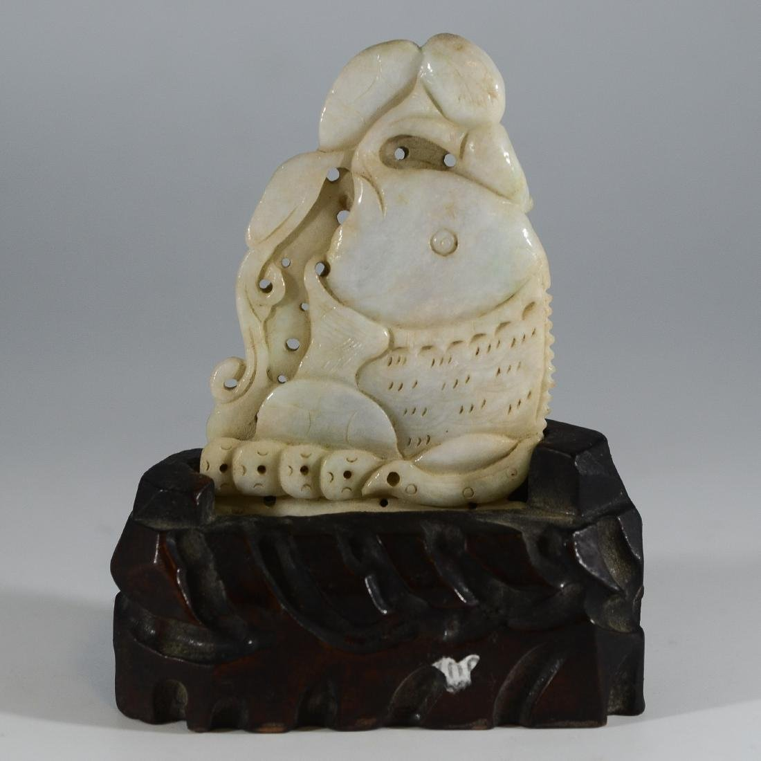 Chinese carved jade fish on wood stand - 2