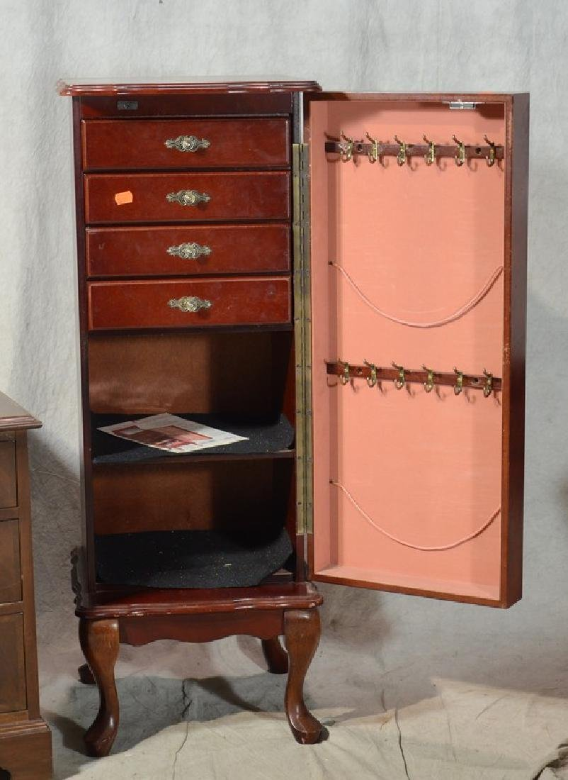 Mahogany finished jewelry cabinet, pair mahogany three - 2