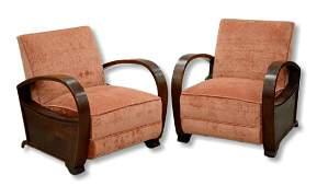 Pr mahogany Deco style armchairs