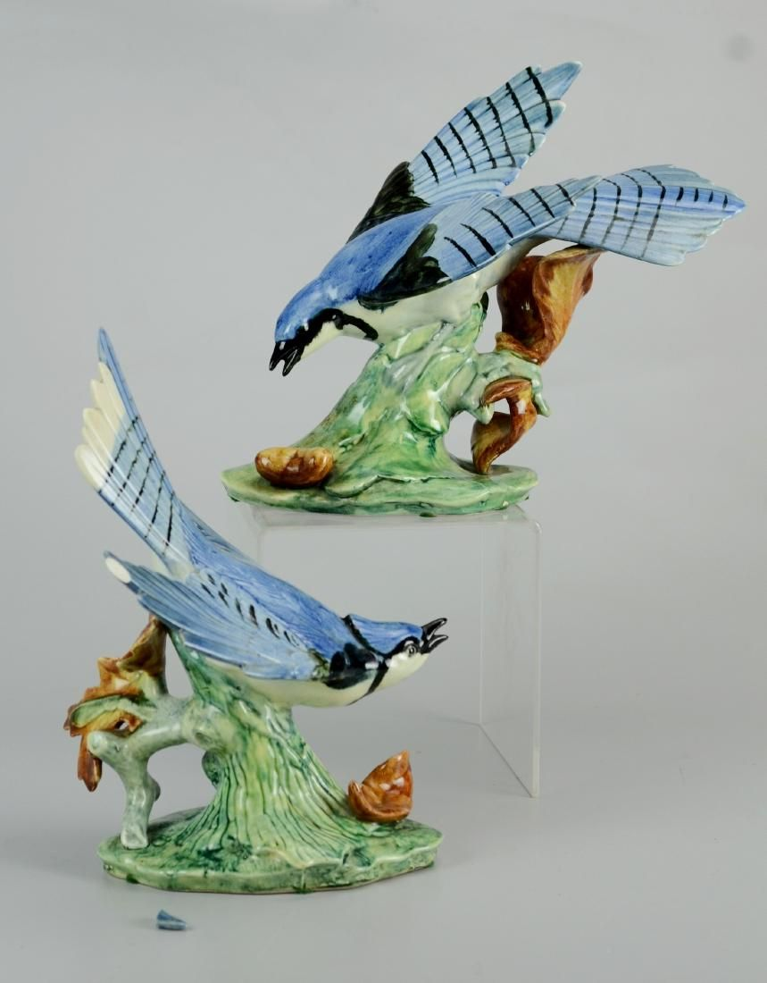 Pr Stangl Pottery blue jay figurines
