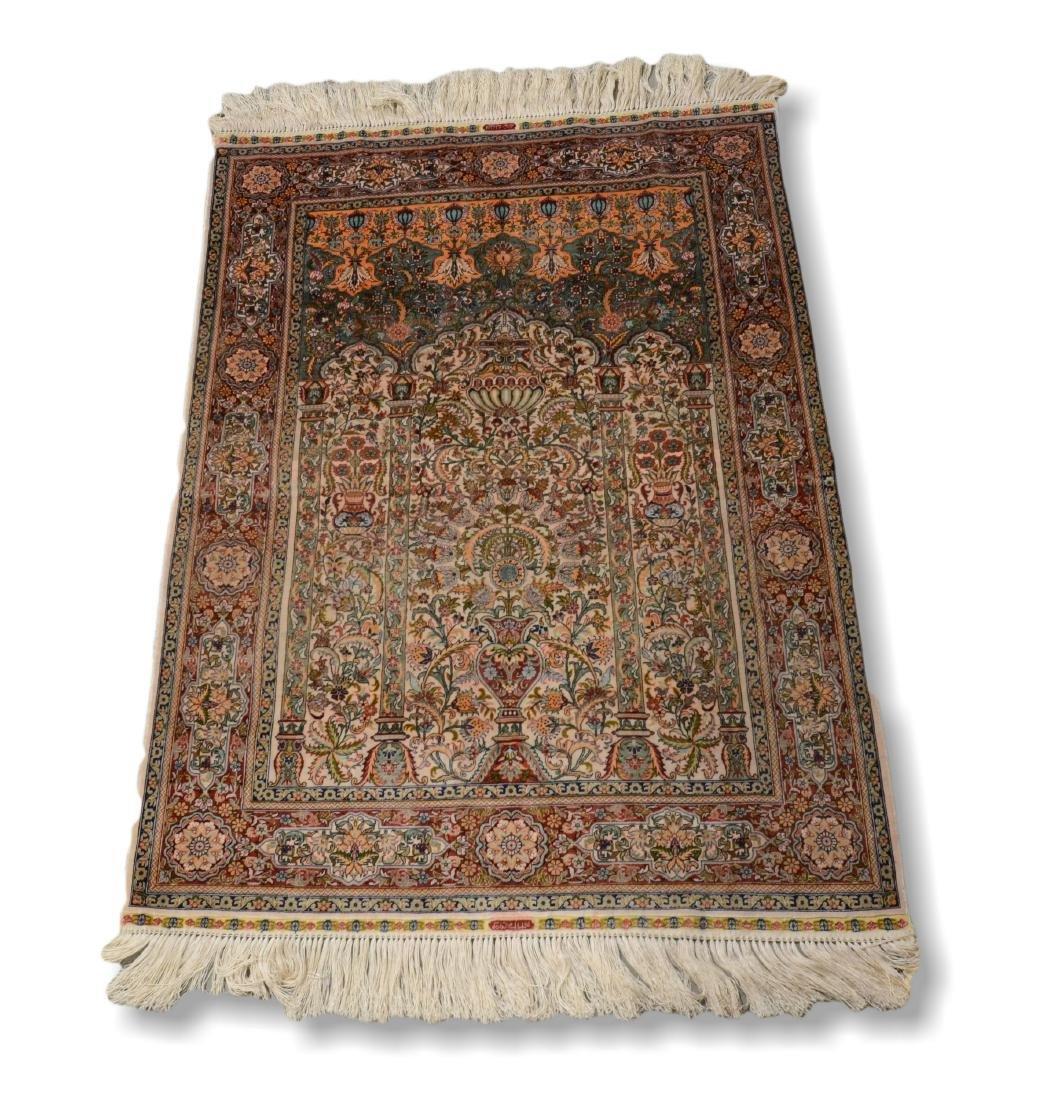 "Finely Woven Persian Silk Isphahan Rug 2'6""x3'8"""