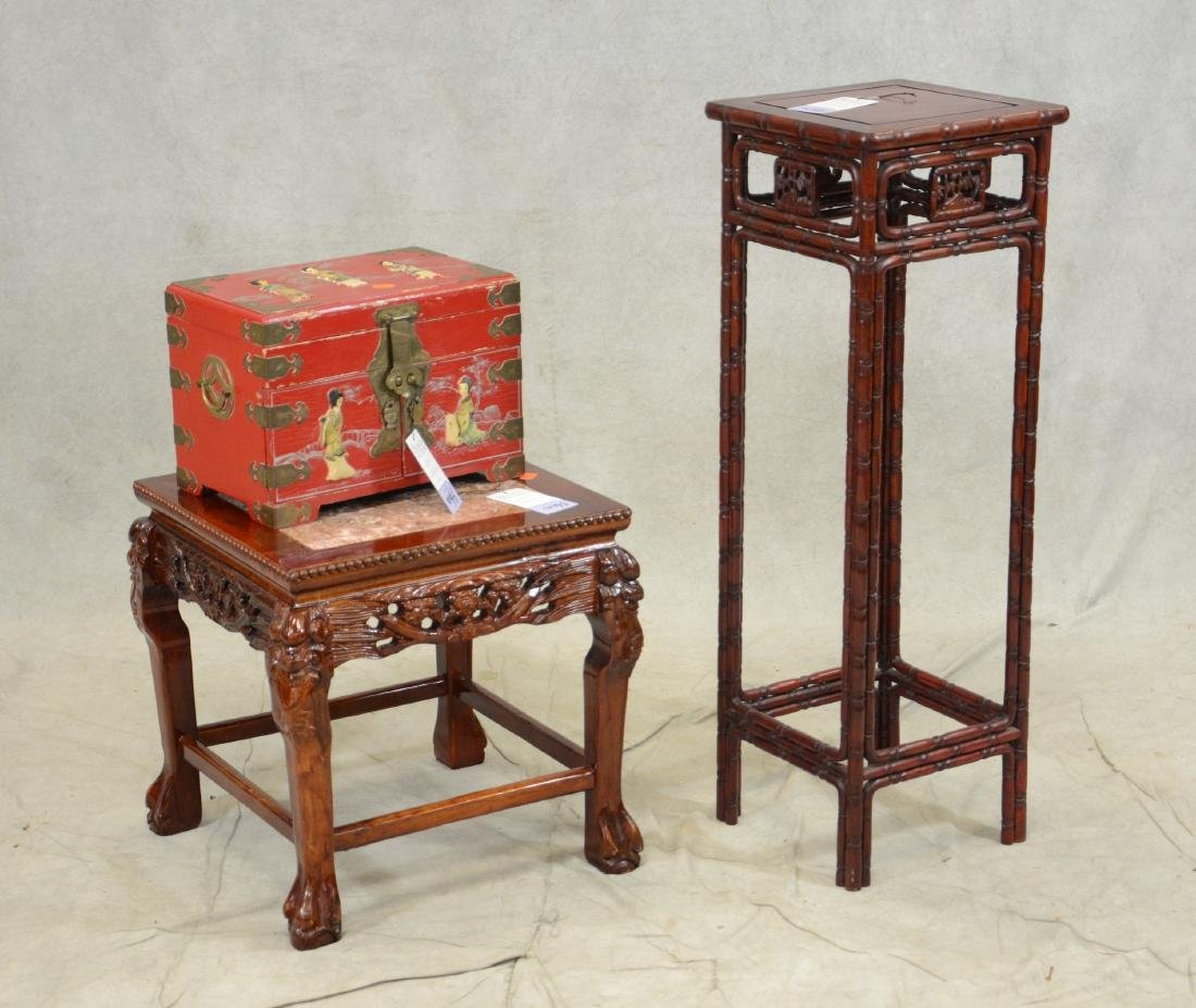 3 pc Asian lot, 2 tables, jewelry chest