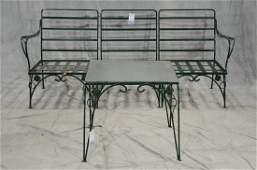 2 pc Salterini style iron leaf form patio set