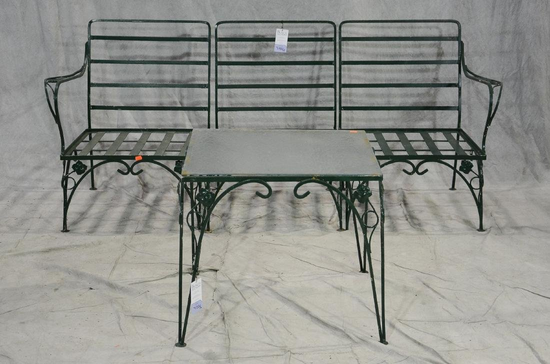 2 pc Salterini style iron leaf form patio set