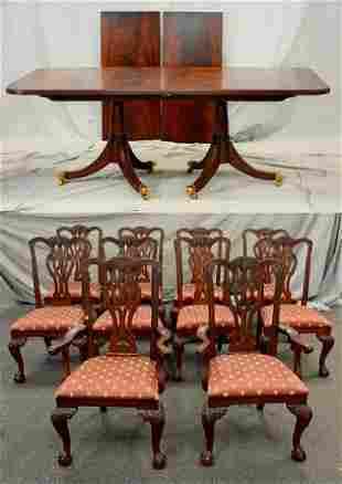 Mahogany Maitland Smith dining table w/10 chairs