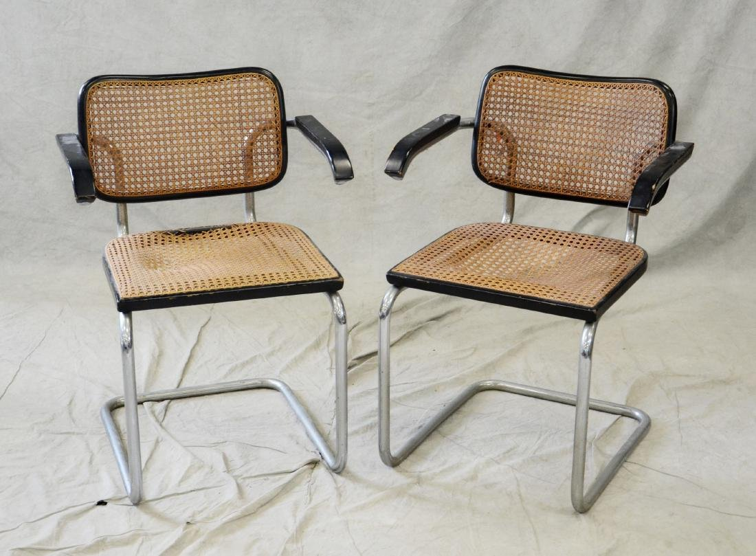 Pair Marcel Brewer by Gavina for Knoll caned armchairs