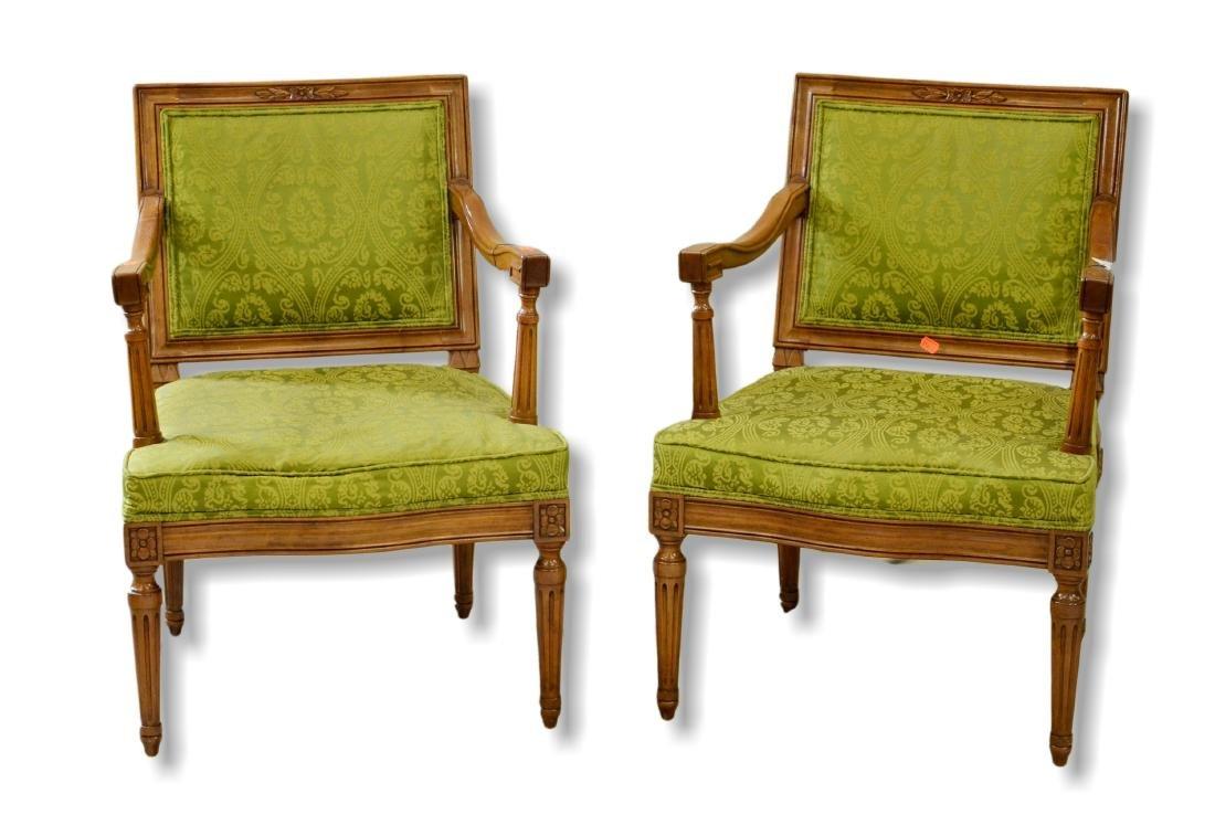 Pair walnut Louis XV style armchairs