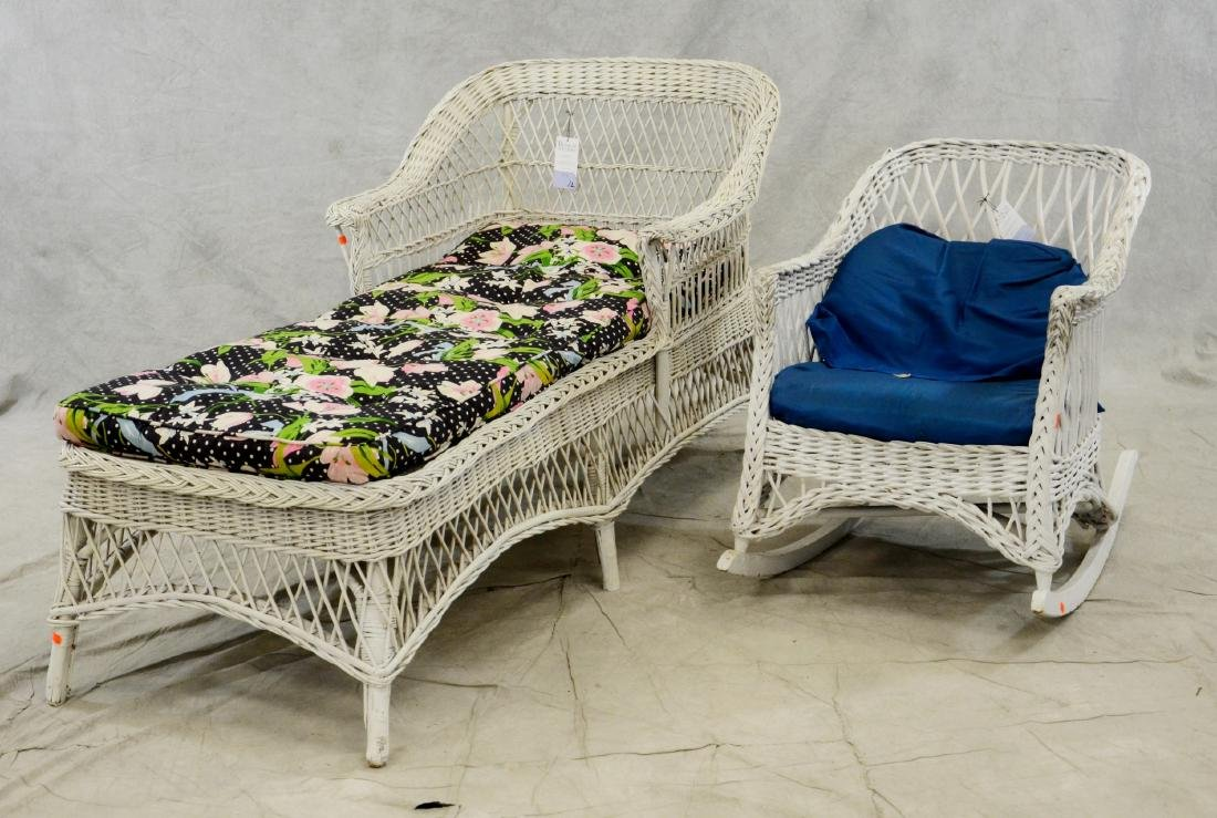 Wicker chaise lounge, wicker rocker