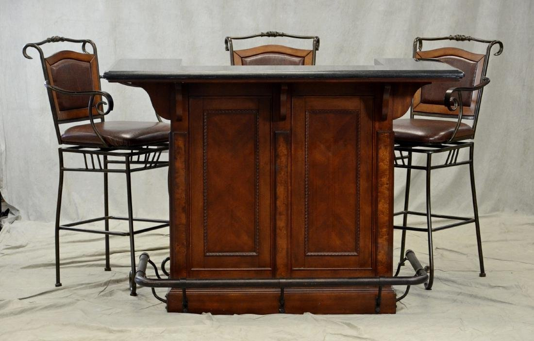 Legends Furniture granite bar w/ 3 bar stools