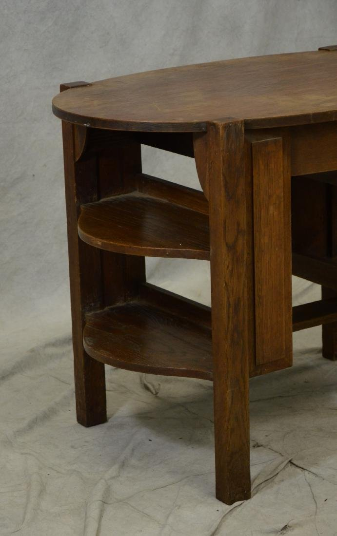 Oval Mission Oak Desk - 3