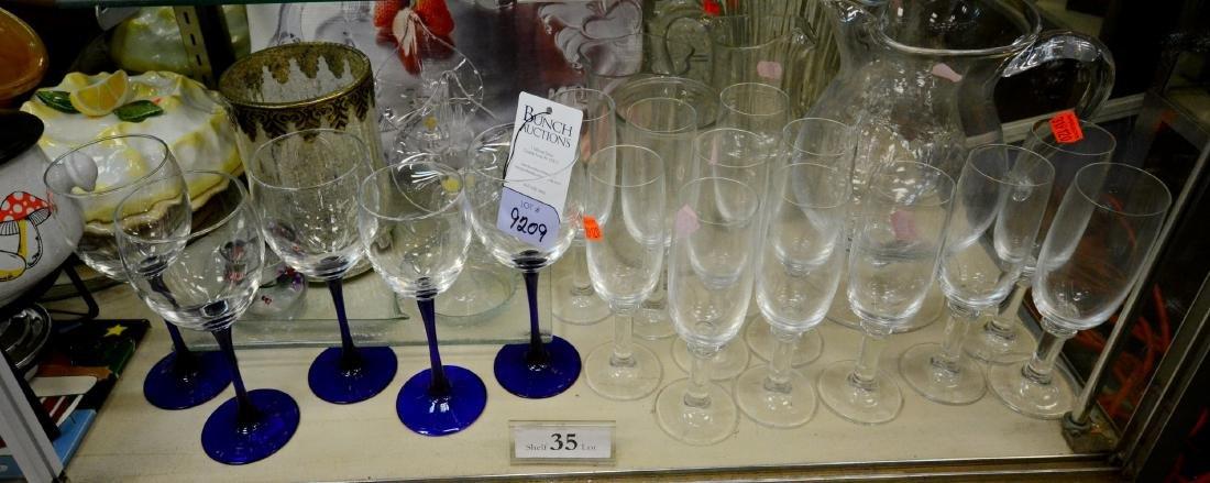Shelf Lot 35 Glass Pitchers & Stemware