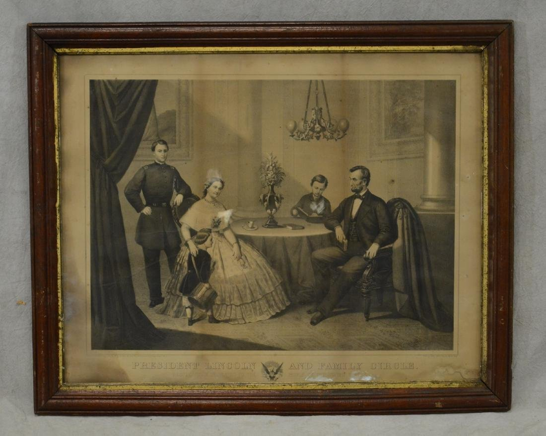 """19th c. Print """"President Lincoln and Family Circle"""""""