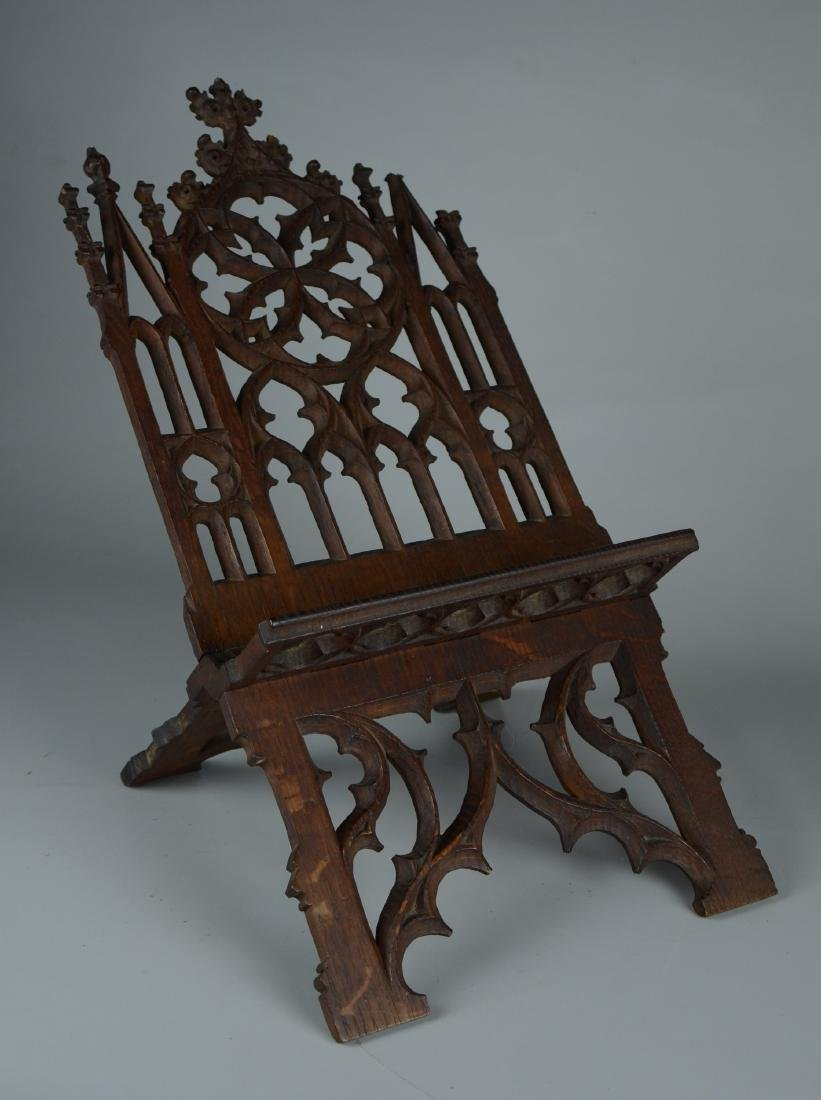 Carved oak Gothic bookstand