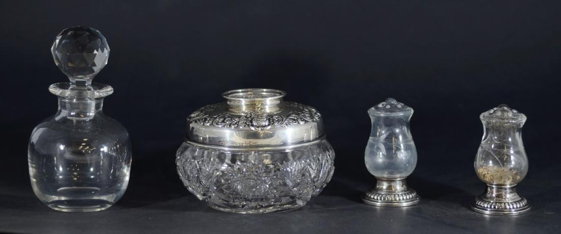 (4) Pcs Sterling Mounted Glass