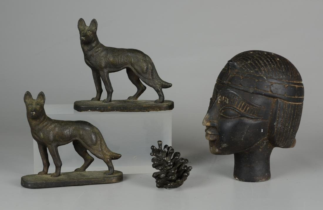 Pr Cast Iron Dog Bookends & Egyptian Bust