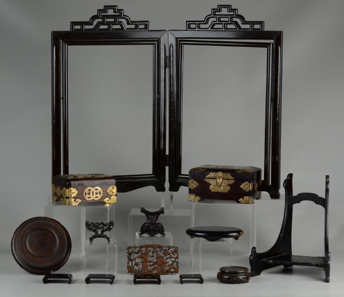 (16) Asian wood pieces