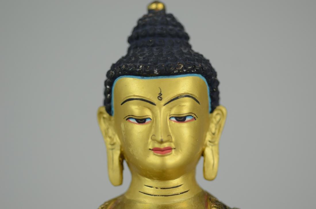 Tibetan silvered and gilt bronze Buddha - 2