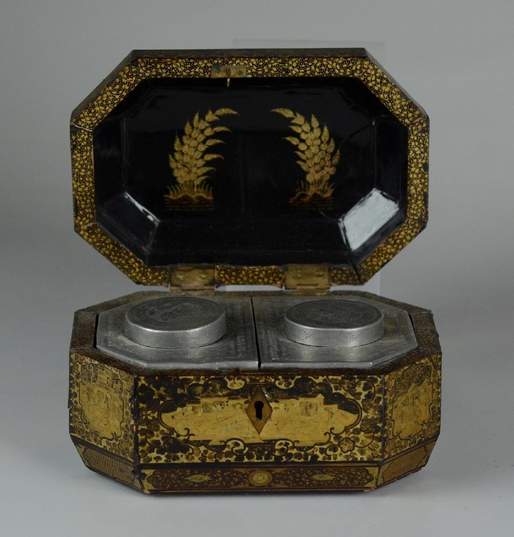 Chinese Export Lacquered Tea Box