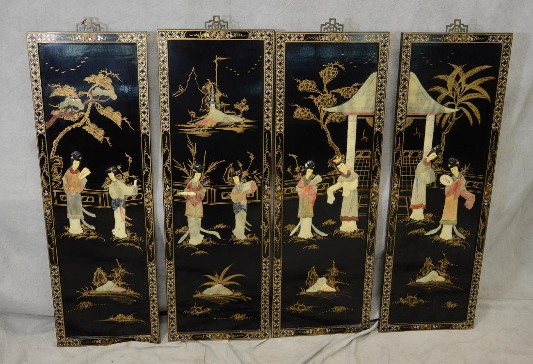 (4) Chinese Lacquer Wall Panels