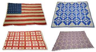 (2) Quilts, Coverlet, and Flag