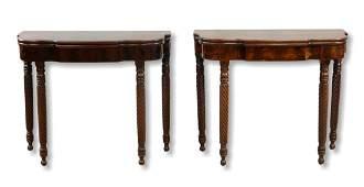 Pair mahogany Sheraton game tables, c 1820-30
