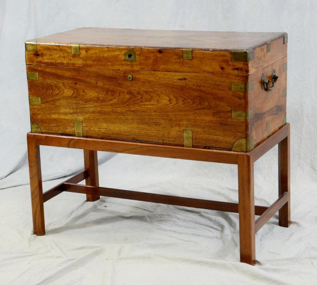 Brass bound camphorwood chest on stand, 1840 or before