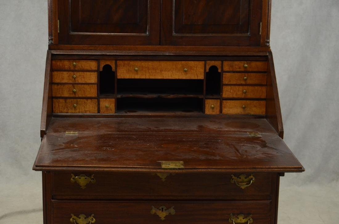 Walnut Chippendale slant front desk, later bookcase top - 2